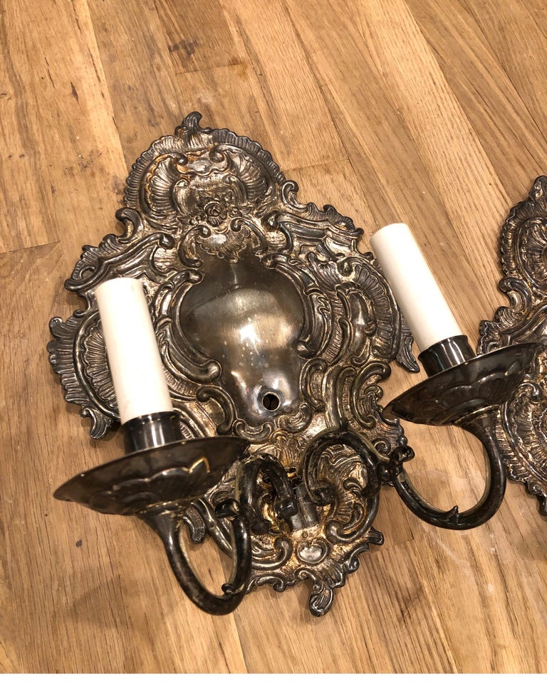 North American Pair of Silver Paul Ferrante Wall Sconces, Double Arm George II Style For Sale