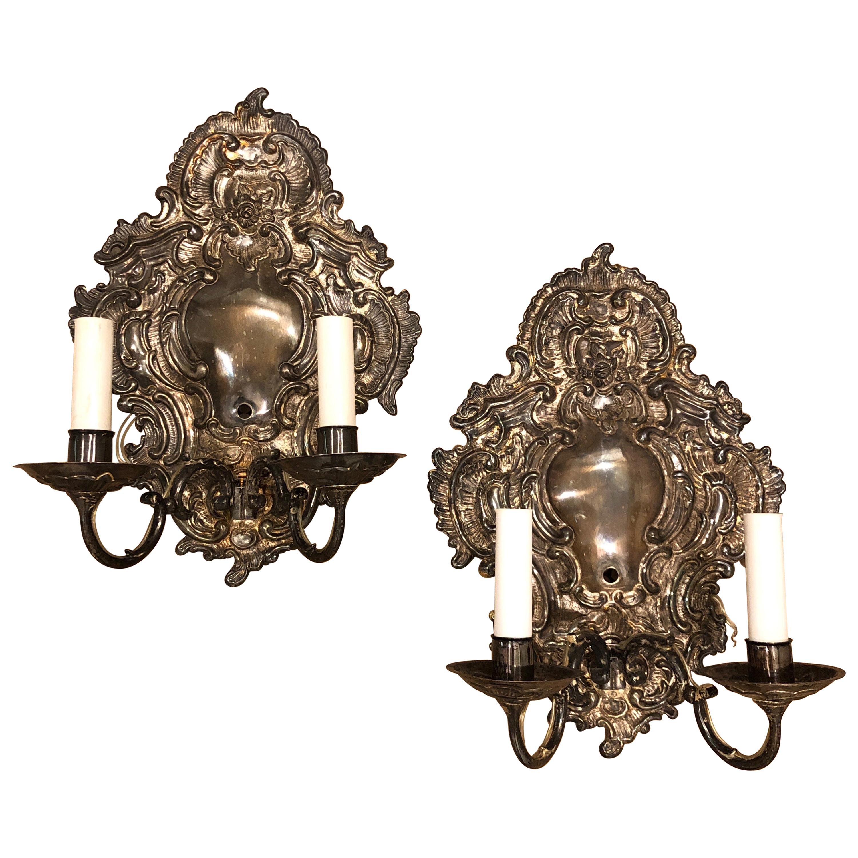 Pair of Silver Paul Ferrante Wall Sconces, Double Arm George II Style