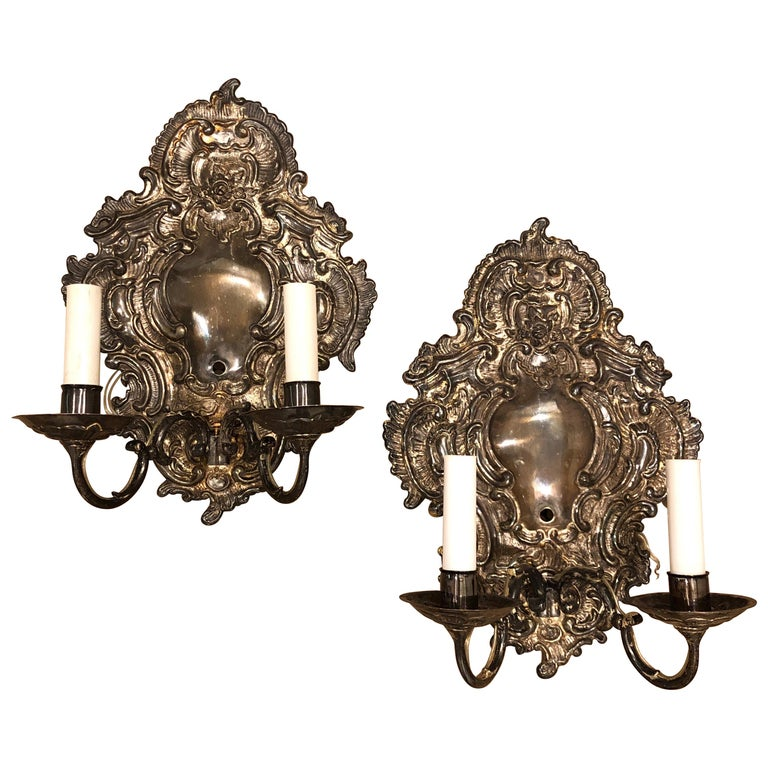 Pair of Silver Paul Ferrante Wall Sconces, Double Arm George II Style For Sale