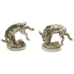 Pair of Silver Plate Donkey Menu Holders