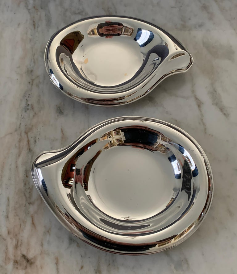 20th Century Pair of Silver Plate Soap or Candy Dishes in the Manner of Elsa Peretti For Sale