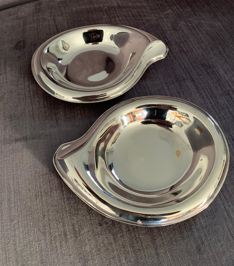 Pair of Silver Plate Soap or Candy Dishes in the Manner of Elsa Peretti For Sale 1