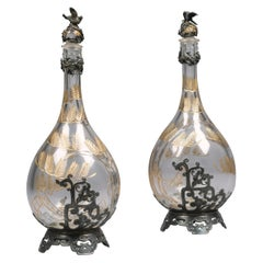 Pair of Silver Plated and Engraved Glass Decanters