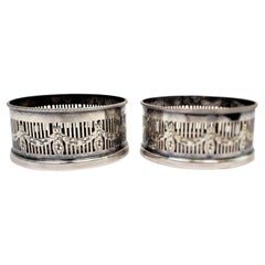 Pair of Silver Plated Bottle Coasters with Garland Styled Gallery Sides