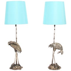 Pair of Silver Plated Bronze Valenti Bird Table Lamps