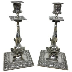 Pair of Silver Plated Cast Victorian Dolphin Candlesticks England, circa 1870