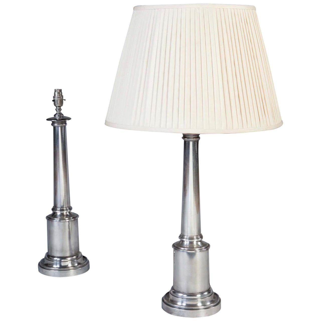 Pair of Silver Plated Column Table Lamps