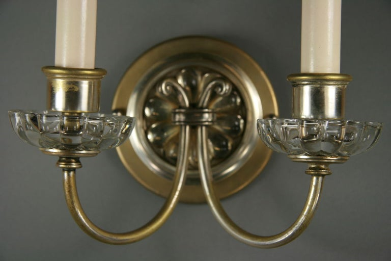 Pair of Silver Plated Crystal Double Arm Sconce In Good Condition For Sale In Douglas Manor, NY