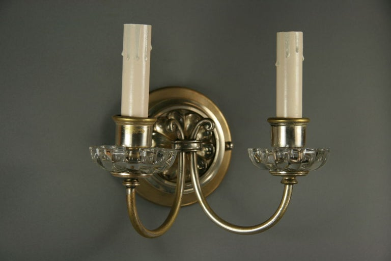 20th Century Pair of Silver Plated Crystal Double Arm Sconce For Sale