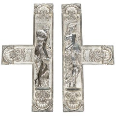 Pair of Silver Plated Door Plates Depicting Danaïdes