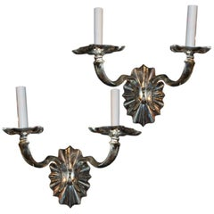 Pair of Silver Plated Double Light Sconces   ca 1920's