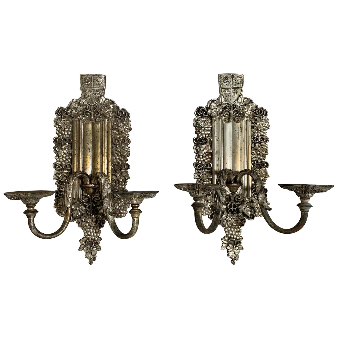 Pair of Silver Plated E. F. Caldwell Sconces