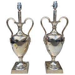 Pair of Silver Plated Grecian Urns with Mask Handles of Pan the Greek God