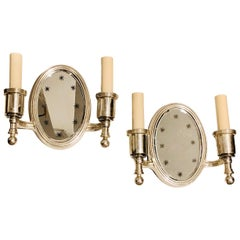 Pair of Silver-Plated Mirror Sconces