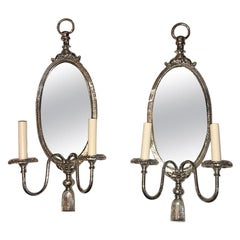 Pair of Silver Plated Neoclassic Sconces