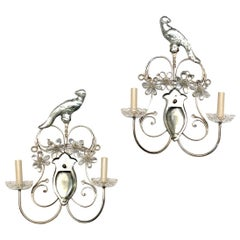 Pair of Silver Plated Parrot Sconces