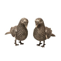 Pair of Silver Plated Pigeons