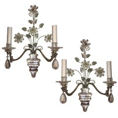 Pair of Silver Plated Sconces with Flowers