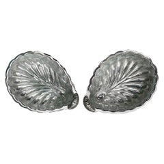 Pair of Silver Plated Shell Salt and Pepper Holders, 20th Century