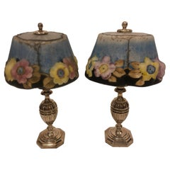 Pair of Silver Plated Table Lamps with Painted Ceramic Floral Glass Shades