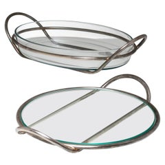 Pair of Silver Plated Trays by Lino Sabattini for Argenteria Sabattini