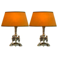 Pair of Silver Plated Tri-form Griffin Lamps
