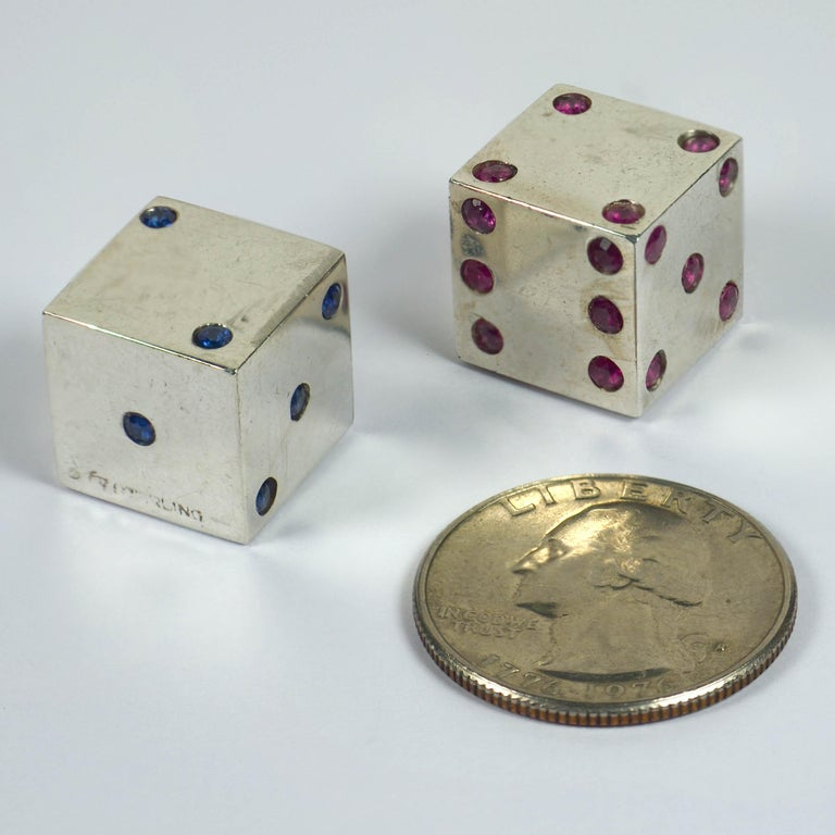 Pair of Silver Ruby Sapphire Dice In Good Condition For Sale In London, GB