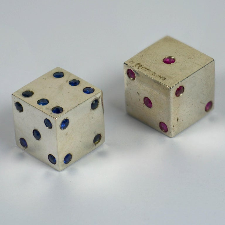 Women's or Men's Pair of Silver Ruby Sapphire Dice For Sale