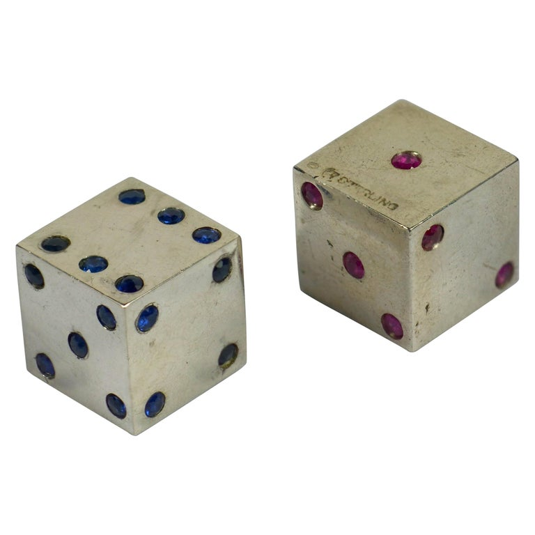 Pair of Silver Ruby Sapphire Dice For Sale