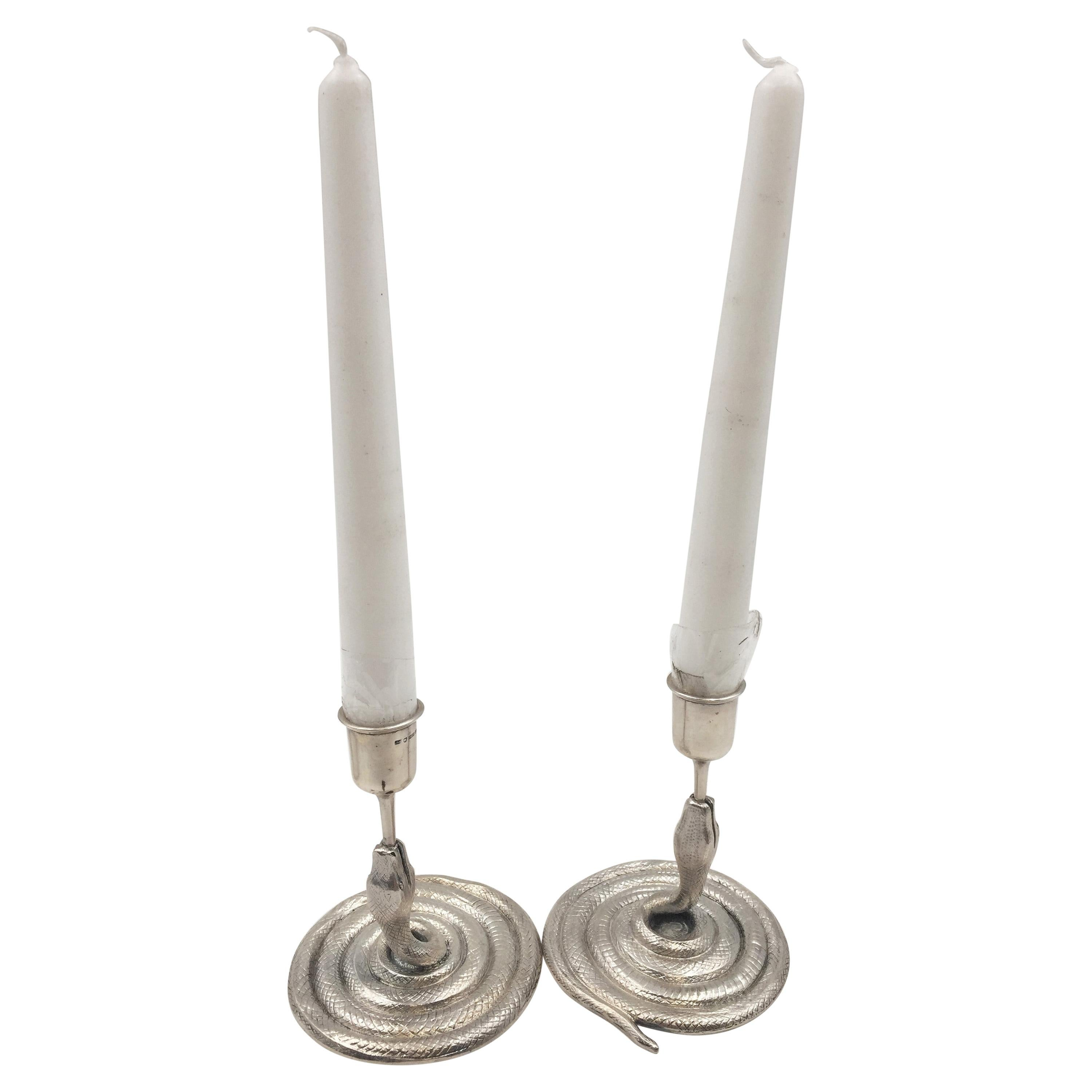 Pair of Silver Serpent Candlesticks in Mid-Century Modern Style from 1954