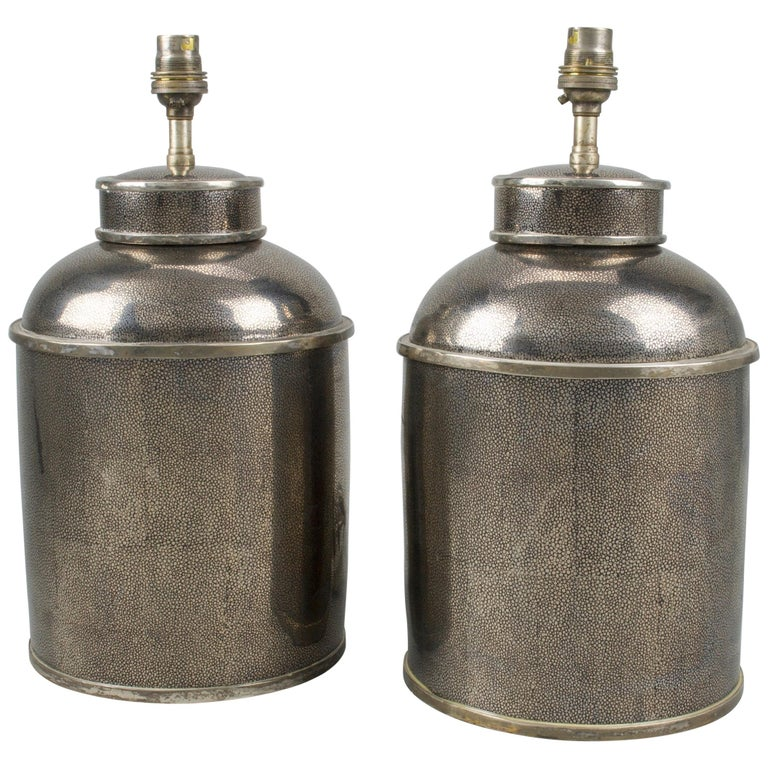 Pair of Silver Shagreen Porcelain Tea Canisters Lamps For Sale
