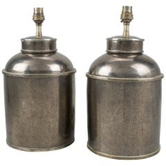 Pair of Silver Shagreen Porcelain Tea Canisters Table Lamps
