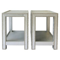 Pair of Silver Snakeskin-esque End or Nightstand Tables