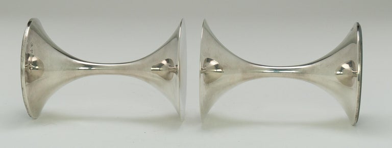 "Pair of Silver ""Trumpetti"" Candlesticks Model TW 284, Designed by Tapio Wirkkala 1"