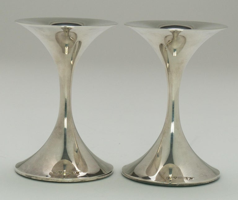 "Pair of Silver ""Trumpetti"" Candlesticks Model TW 284, Designed by Tapio Wirkkala 2"