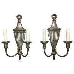 Pair of Silver Two-Light Urn Sconces, Mid-20th Century