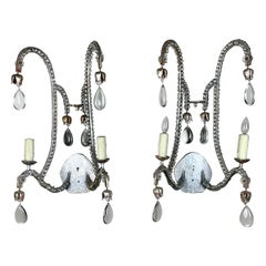 Pair of Silvered 2-Light Crystal Sconces