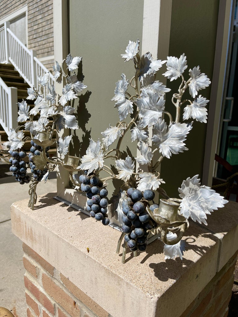 Pair of Silvered and Painted Iron Grape Vine Wall Lamps For Sale 4