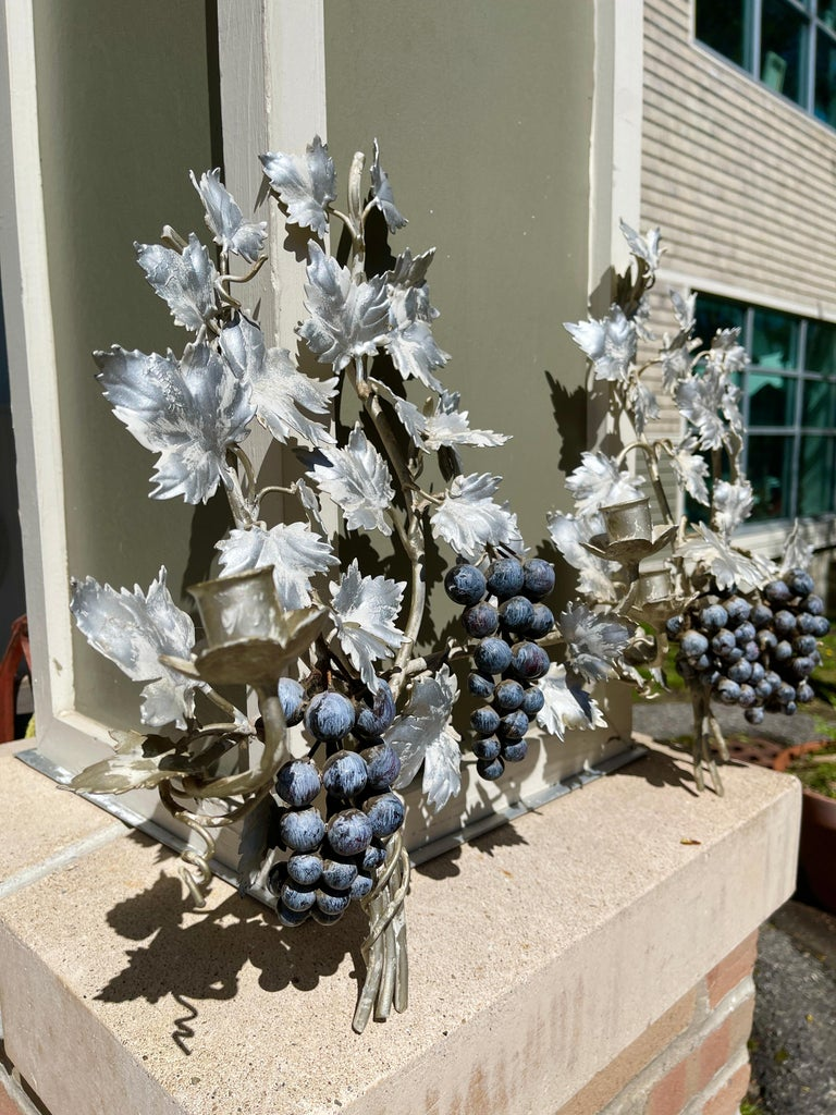 Pair of Silvered and Painted Iron Grape Vine Wall Lamps For Sale 5