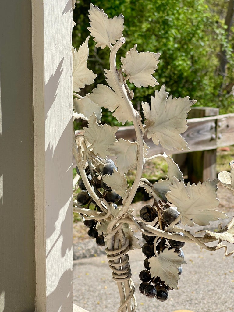 Pair of Silvered and Painted Iron Grape Vine Wall Lamps For Sale 6