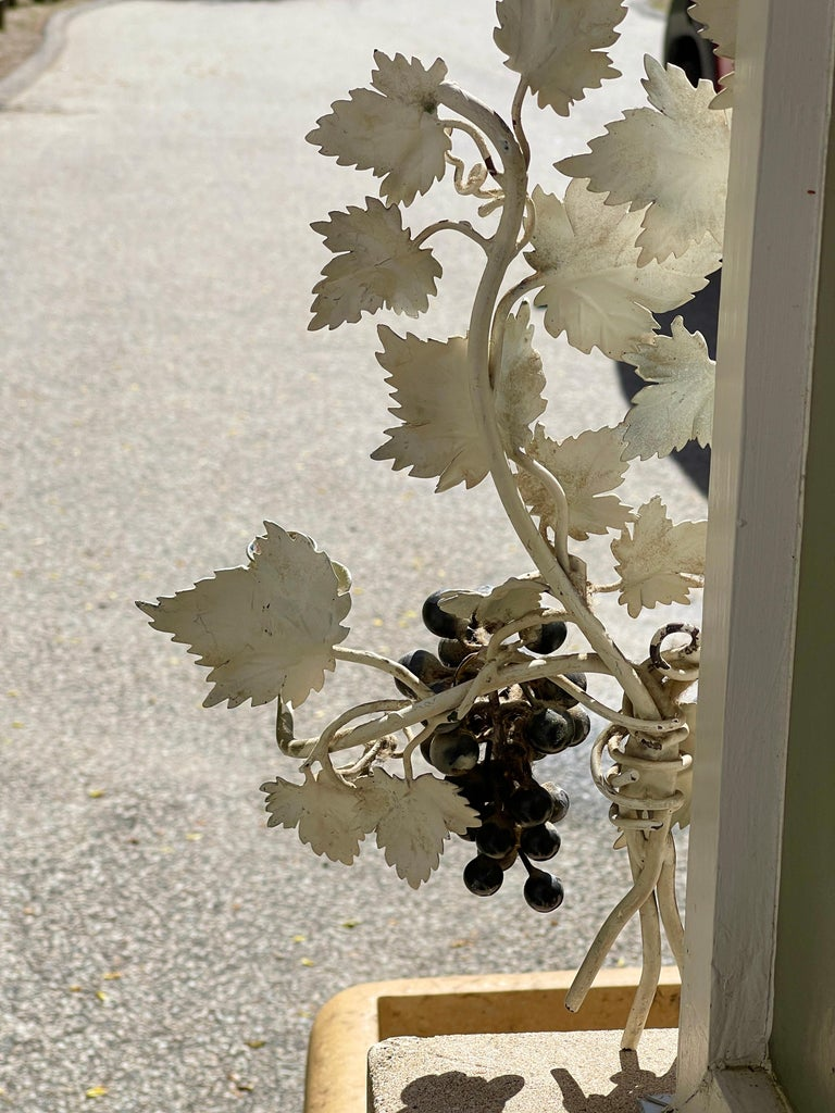 Pair of Silvered and Painted Iron Grape Vine Wall Lamps For Sale 7