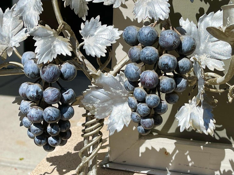 Pair of Silvered and Painted Iron Grape Vine Wall Lamps For Sale 8