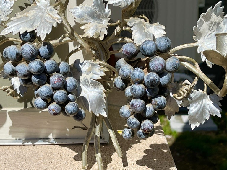Pair of Silvered and Painted Iron Grape Vine Wall Lamps For Sale 9