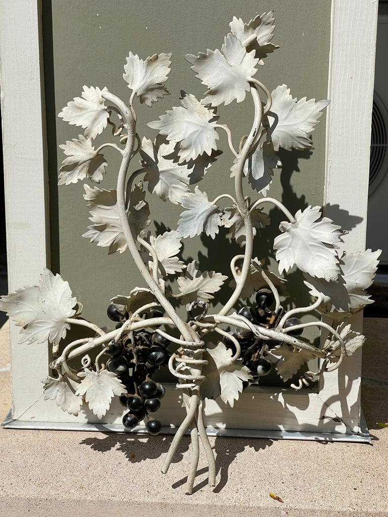 Pair of Silvered and Painted Iron Grape Vine Wall Lamps For Sale 12
