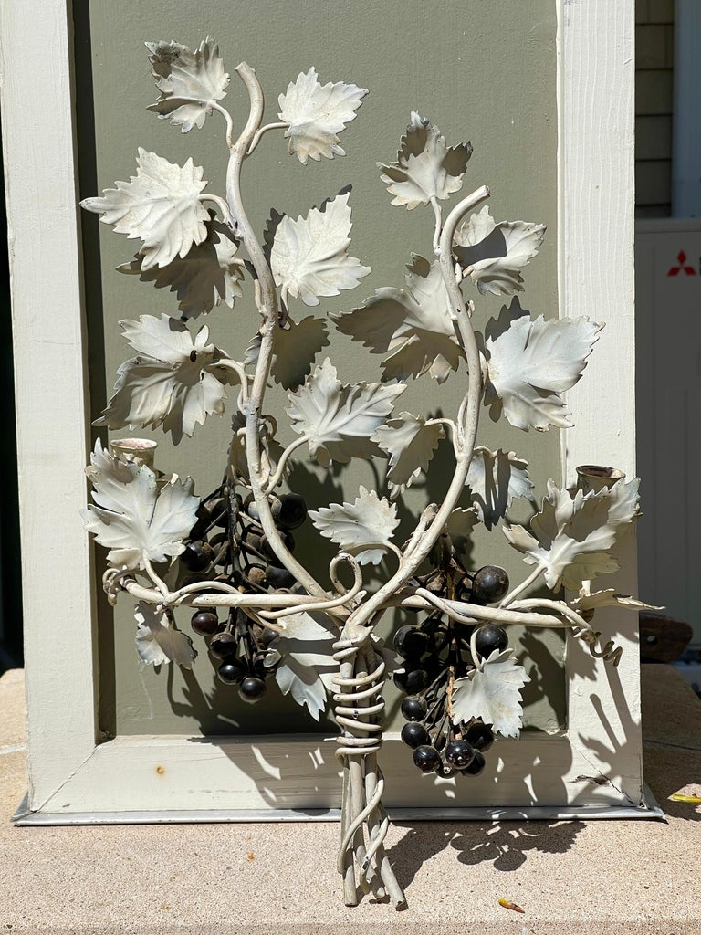 Pair of Silvered and Painted Iron Grape Vine Wall Lamps For Sale 13