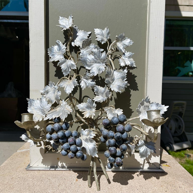 Hollywood Regency Pair of Silvered and Painted Iron Grape Vine Wall Lamps For Sale