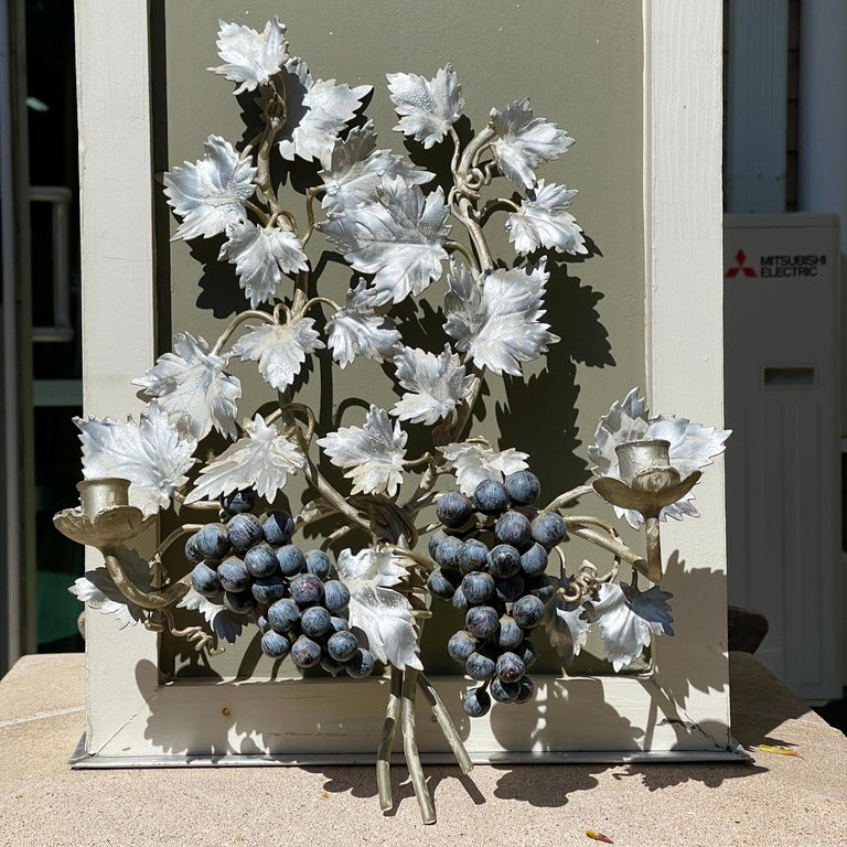 Italian Pair of Silvered and Painted Iron Grape Vine Wall Lamps For Sale