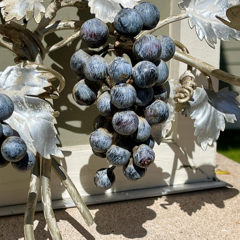 Pair of Silvered and Painted Iron Grape Vine Wall Lamps In Good Condition For Sale In Hingham, MA