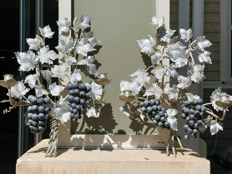 Pair of Silvered and Painted Iron Grape Vine Wall Lamps For Sale 2
