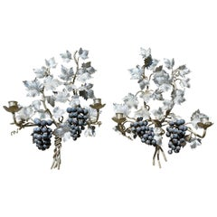 Pair of Silvered and Painted Iron Grape Vine Wall Lamps
